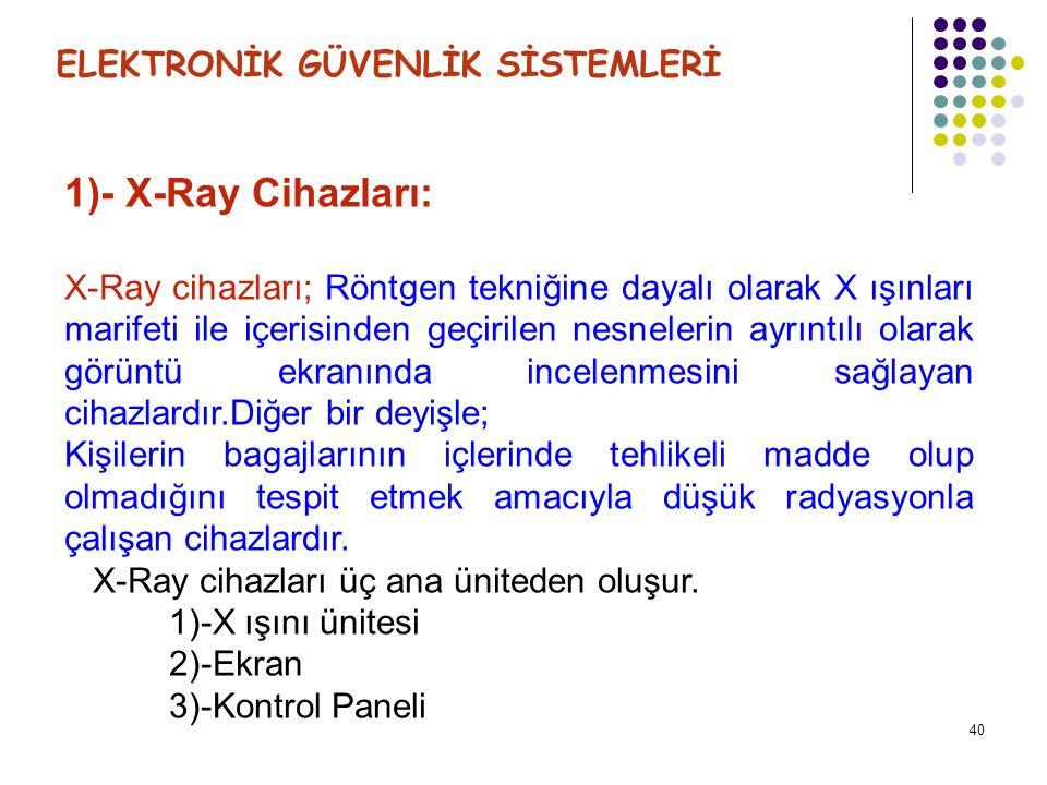 1)- X-Ray Cihazları: ELEKTRONİK GÜVENLİK SİSTEMLERİ
