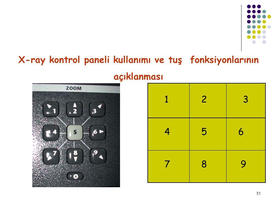 X-ray kontrol paneli kullanımı ve tuş fonksiyonlarının
