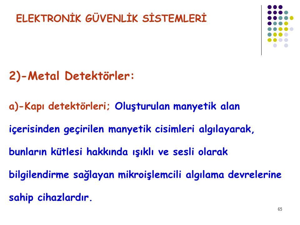 2)-Metal Detektörler: ELEKTRONİK GÜVENLİK SİSTEMLERİ