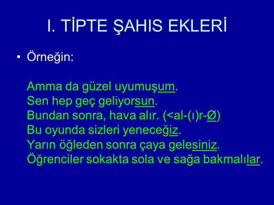 I. TİPTE ŞAHIS EKLERİ