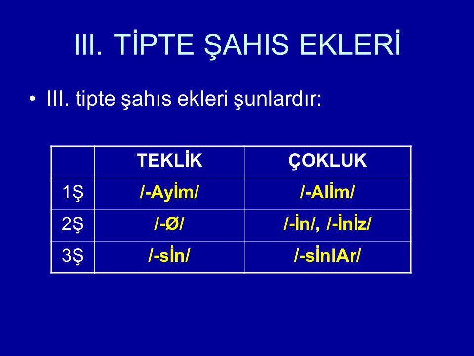 III. TİPTE ŞAHIS EKLERİ III. tipte şahıs ekleri şunlardır: TEKLİK