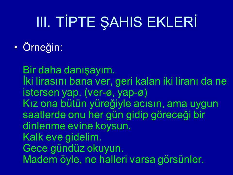 III. TİPTE ŞAHIS EKLERİ