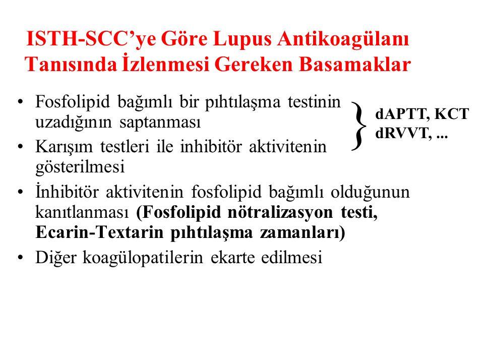 ISTH-SCC'ye Göre Lupus Antikoagülanı Tanısında İzlenmesi Gereken Basamaklar