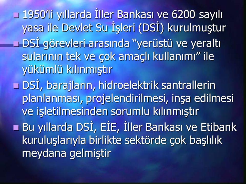1950'li yıllarda İller Bankası ve 6200 sayılı yasa ile Devlet Su İşleri (DSİ) kurulmuştur