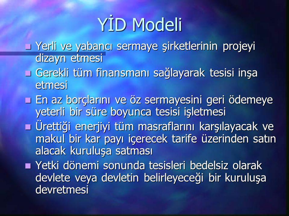 YİD Modeli Yerli ve yabancı sermaye şirketlerinin projeyi dizayn etmesi. Gerekli tüm finansmanı sağlayarak tesisi inşa etmesi.