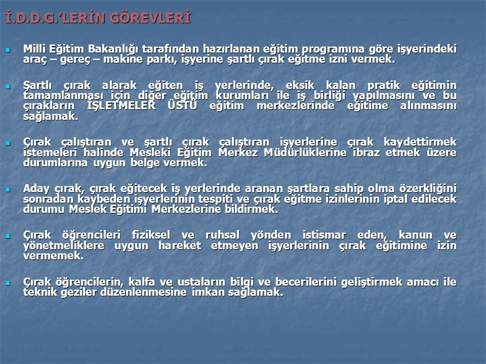 İ.D.D.G.'LERİN GÖREVLERİ