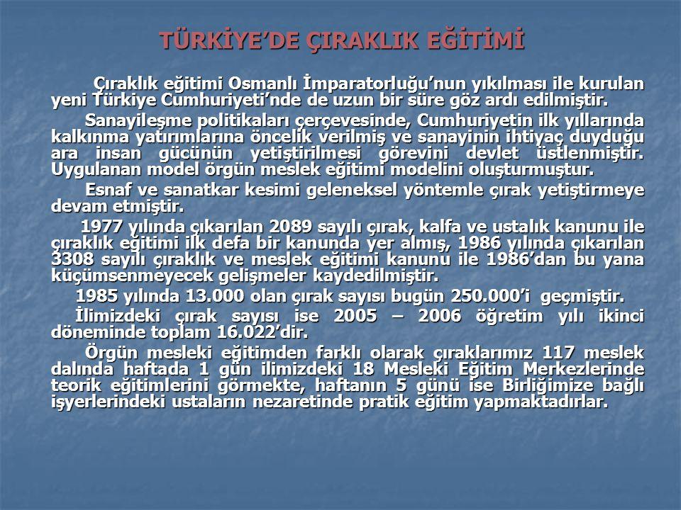 TÜRKİYE'DE ÇIRAKLIK EĞİTİMİ