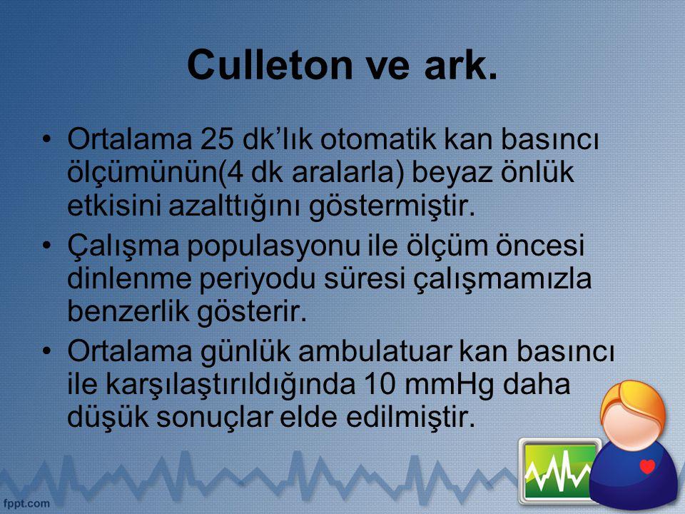 Culleton ve ark. Ortalama 25 dk'lık otomatik kan basıncı ölçümünün(4 dk aralarla) beyaz önlük etkisini azalttığını göstermiştir.