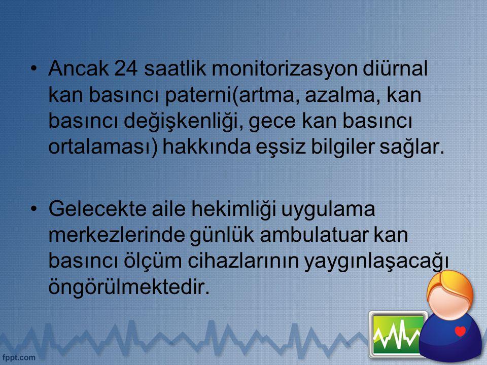 Ancak 24 saatlik monitorizasyon diürnal kan basıncı paterni(artma, azalma, kan basıncı değişkenliği, gece kan basıncı ortalaması) hakkında eşsiz bilgiler sağlar.