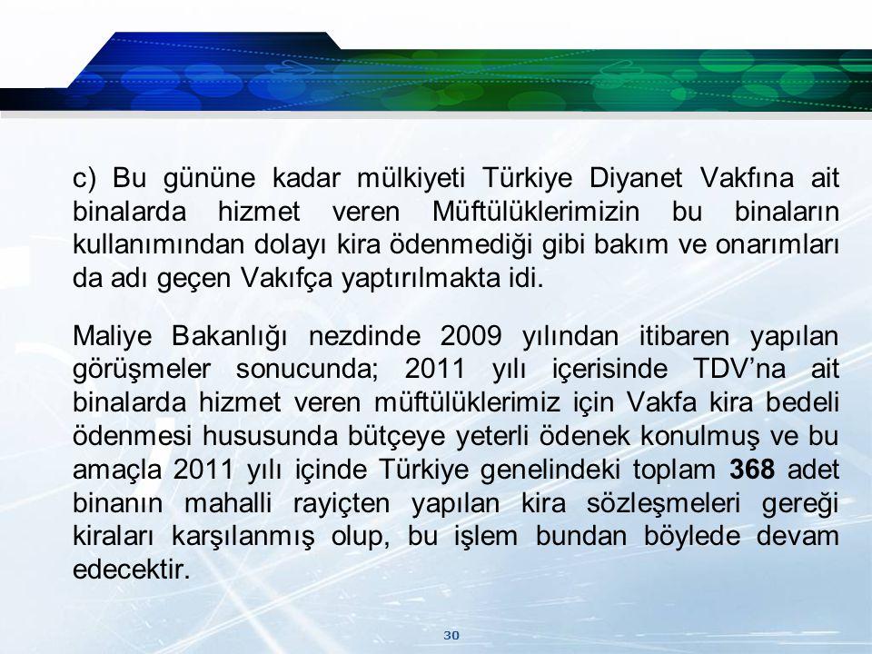 c) Bu gününe kadar mülkiyeti Türkiye Diyanet Vakfına ait binalarda hizmet veren Müftülüklerimizin bu binaların kullanımından dolayı kira ödenmediği gibi bakım ve onarımları da adı geçen Vakıfça yaptırılmakta idi.
