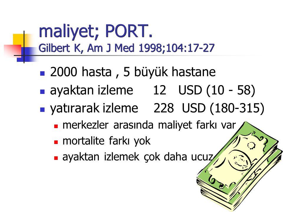 maliyet; PORT. Gilbert K, Am J Med 1998;104:17-27
