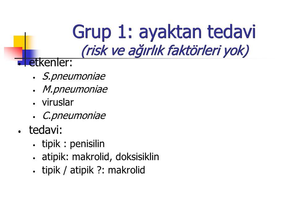Grup 1: ayaktan tedavi (risk ve ağırlık faktörleri yok)