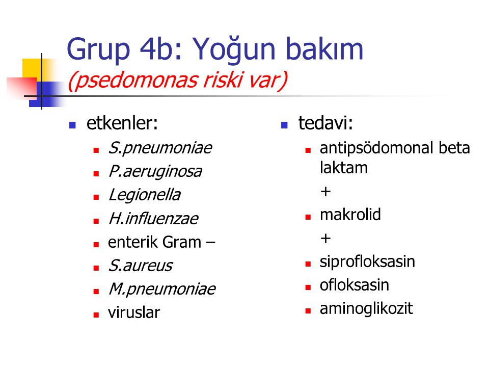 Grup 4b: Yoğun bakım (psedomonas riski var)