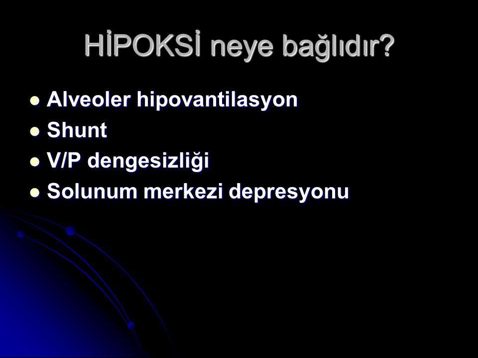 HİPOKSİ neye bağlıdır Alveoler hipovantilasyon Shunt V/P dengesizliği