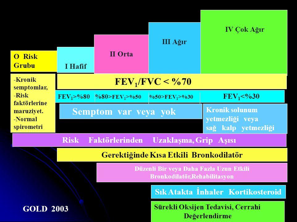FEV1/FVC < %70 Semptom var veya yok