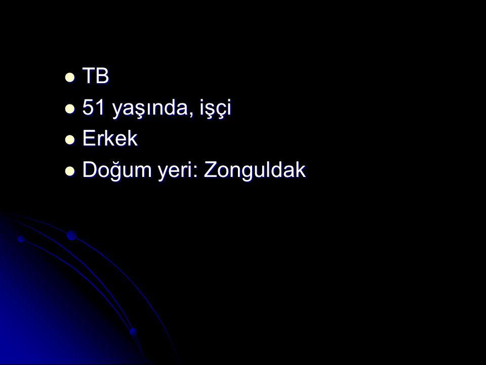 TB 51 yaşında, işçi Erkek Doğum yeri: Zonguldak