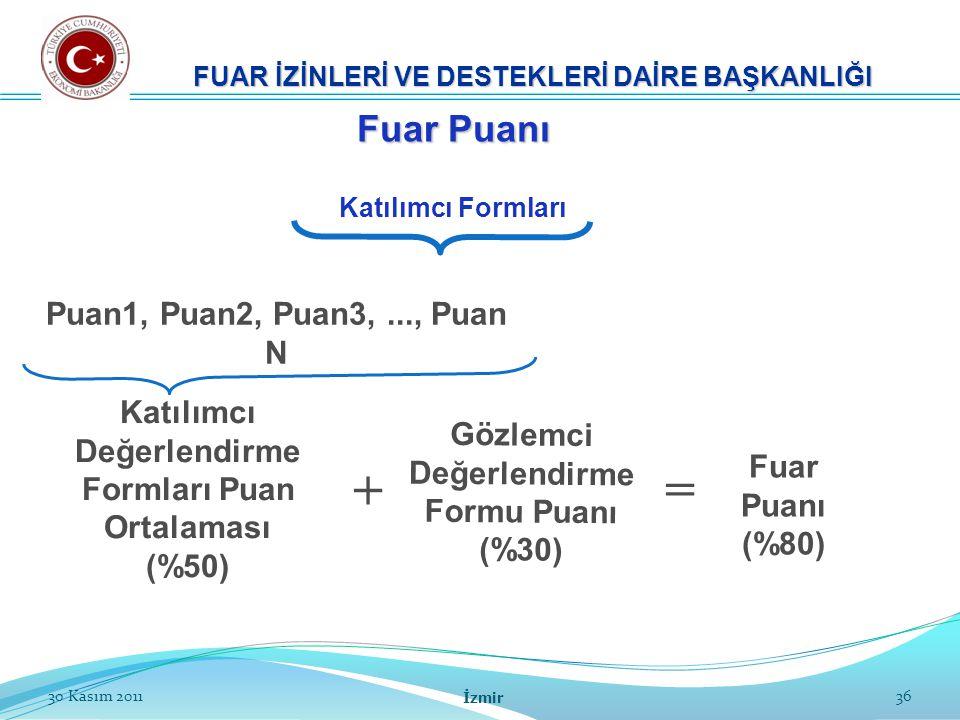 + = Fuar Puanı Puan1, Puan2, Puan3, ..., Puan N