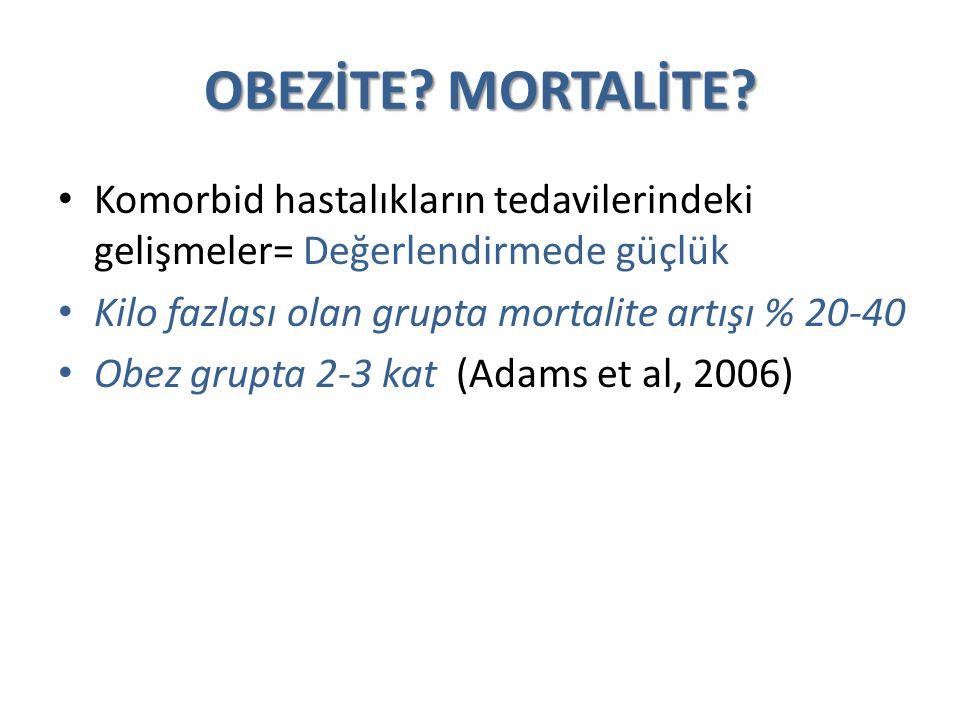 OBEZİTE MORTALİTE Komorbid hastalıkların tedavilerindeki gelişmeler= Değerlendirmede güçlük. Kilo fazlası olan grupta mortalite artışı % 20-40.