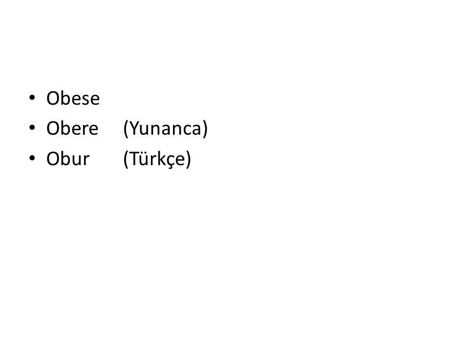 Obese Obere (Yunanca) Obur (Türkçe)