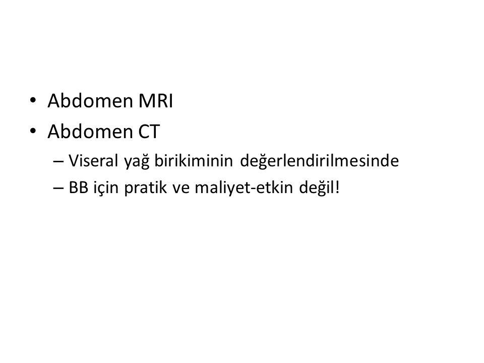 Abdomen MRI Abdomen CT Viseral yağ birikiminin değerlendirilmesinde