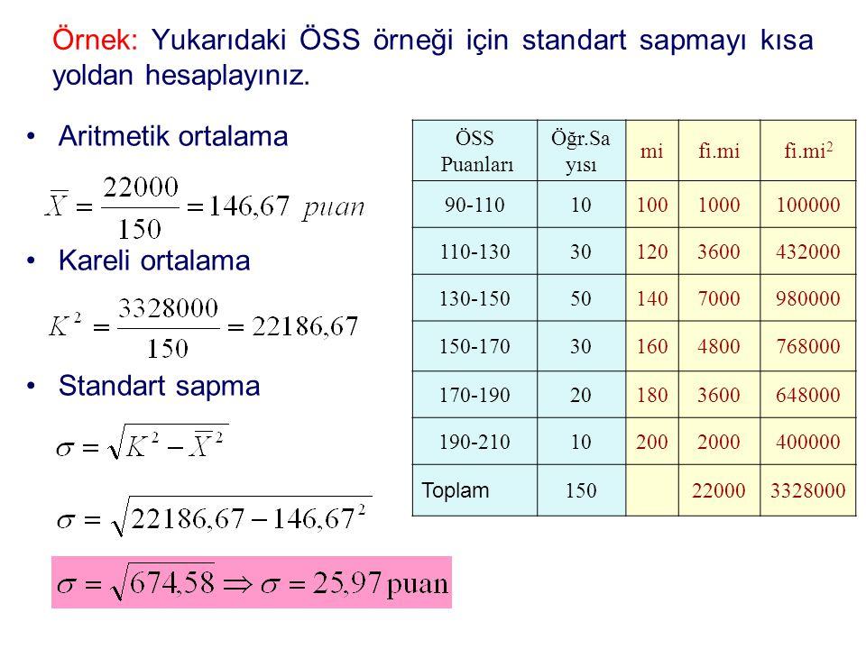 Örnek: Yukarıdaki ÖSS örneği için standart sapmayı kısa yoldan hesaplayınız.