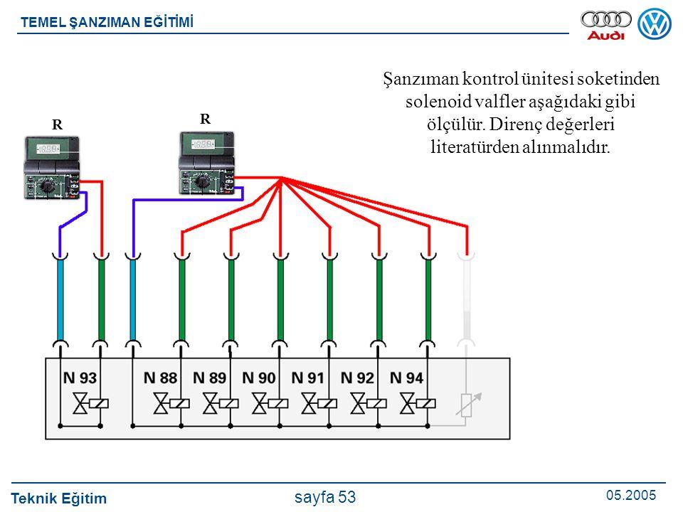 Şanzıman kontrol ünitesi soketinden solenoid valfler aşağıdaki gibi ölçülür. Direnç değerleri literatürden alınmalıdır.
