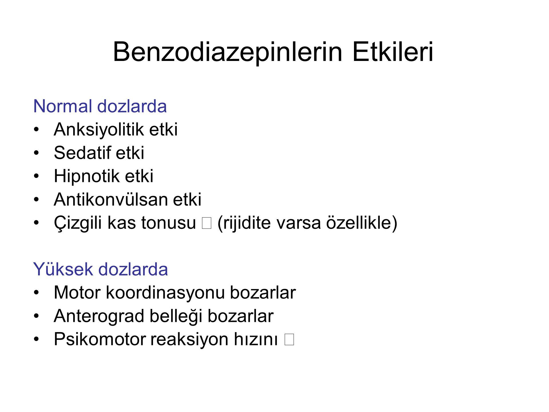 Benzodiazepinlerin Etkileri