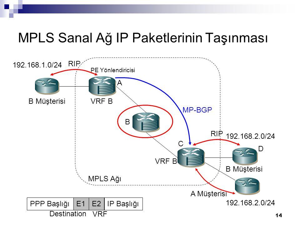 MPLS Sanal Ağ IP Paketlerinin Taşınması