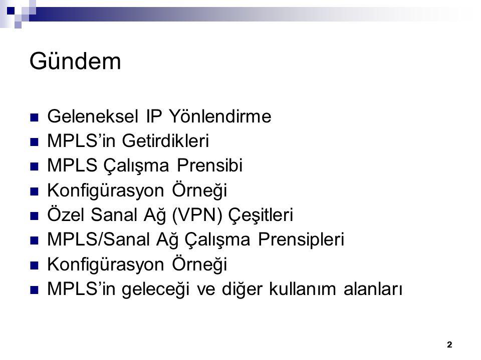 Gündem Geleneksel IP Yönlendirme MPLS'in Getirdikleri