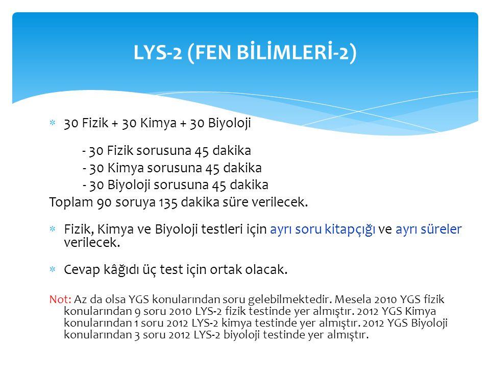LYS-2 (FEN BİLİMLERİ-2) 30 Fizik + 30 Kimya + 30 Biyoloji - 30 Fizik sorusuna 45 dakika. - 30 Kimya sorusuna 45 dakika.