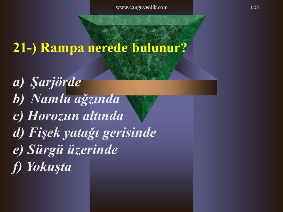 21-) Rampa nerede bulunur Şarjörde Namlu ağzında c) Horozun altında