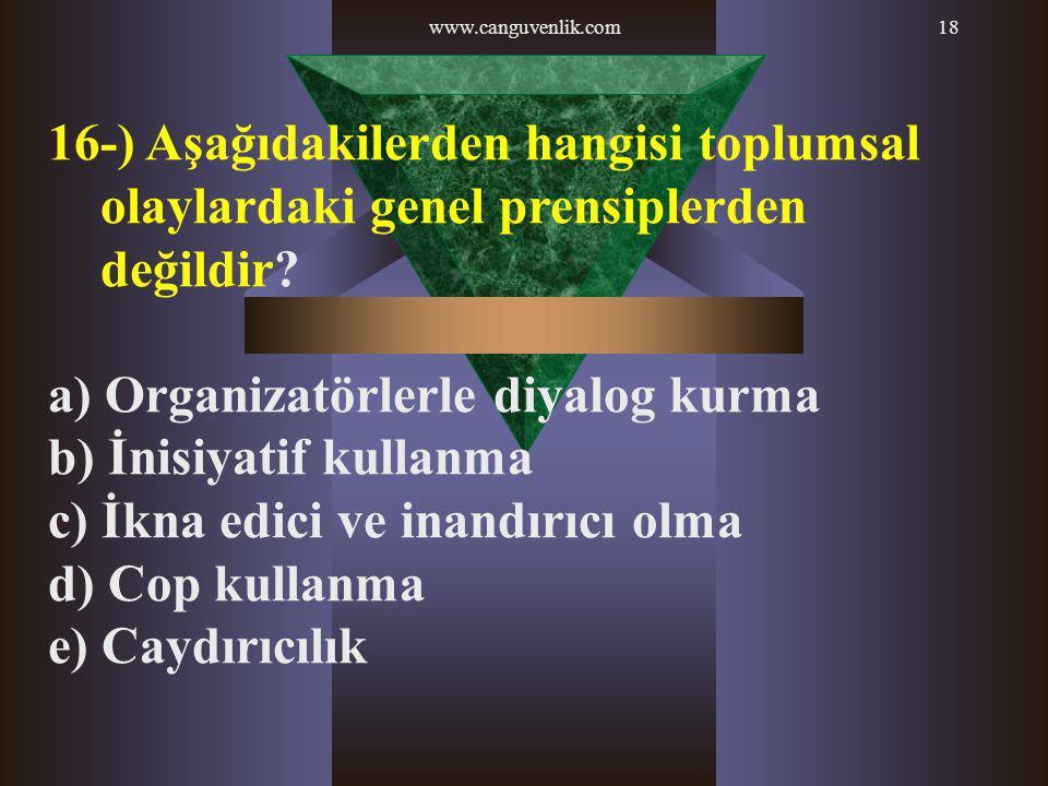 a) Organizatörlerle diyalog kurma b) İnisiyatif kullanma