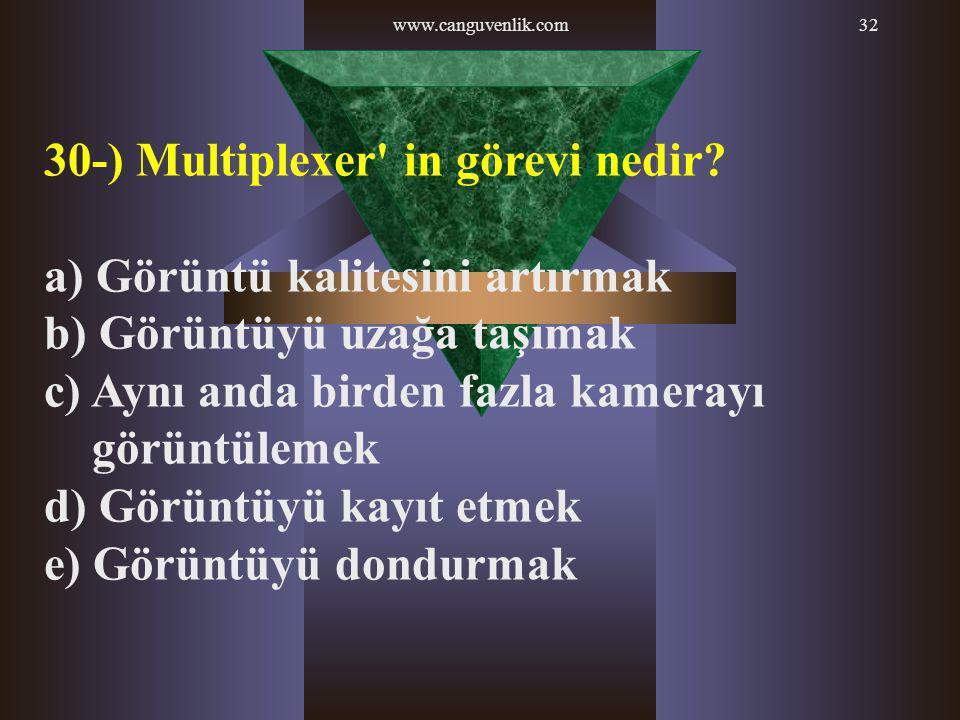 30-) Multiplexer in görevi nedir a) Görüntü kalitesini artırmak