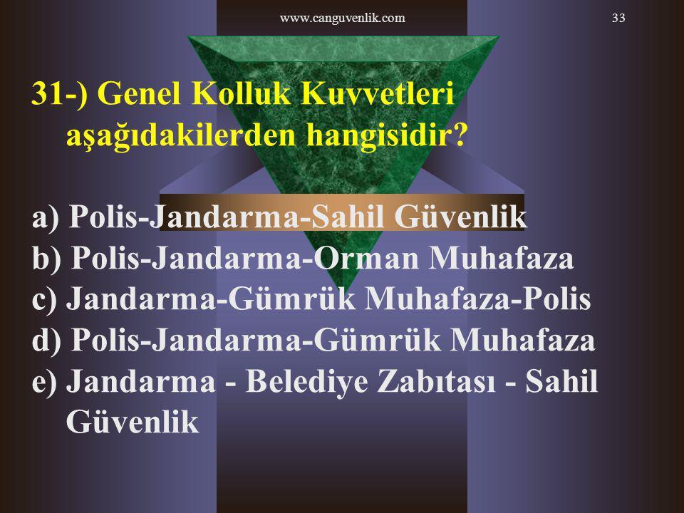 31-) Genel Kolluk Kuvvetleri aşağıdakilerden hangisidir