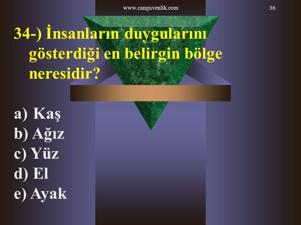 34-) İnsanların duygularını gösterdiği en belirgin bölge neresidir