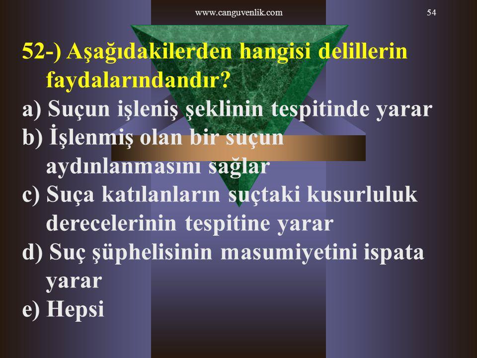 52-) Aşağıdakilerden hangisi delillerin faydalarındandır