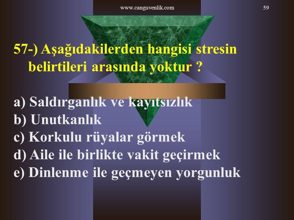 57-) Aşağıdakilerden hangisi stresin belirtileri arasında yoktur