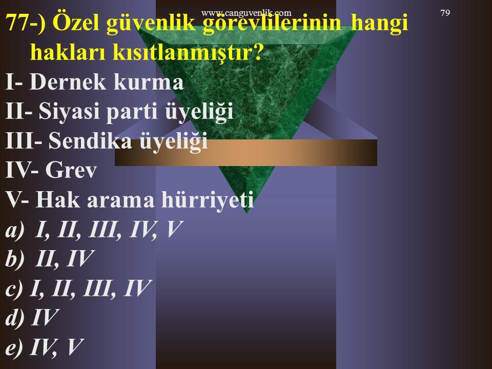 77-) Özel güvenlik görevlilerinin hangi hakları kısıtlanmıştır