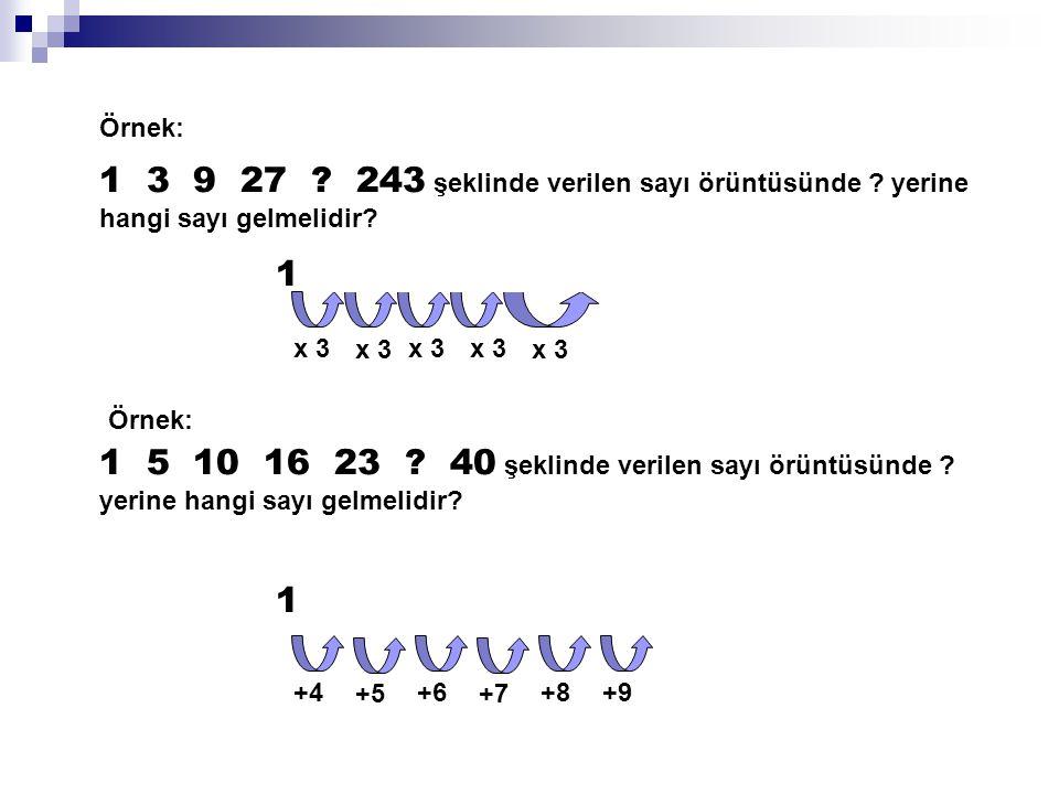 Örnek: 1 3 9 27 243 şeklinde verilen sayı örüntüsünde yerine hangi sayı gelmelidir 1 3 9 27 81 243.
