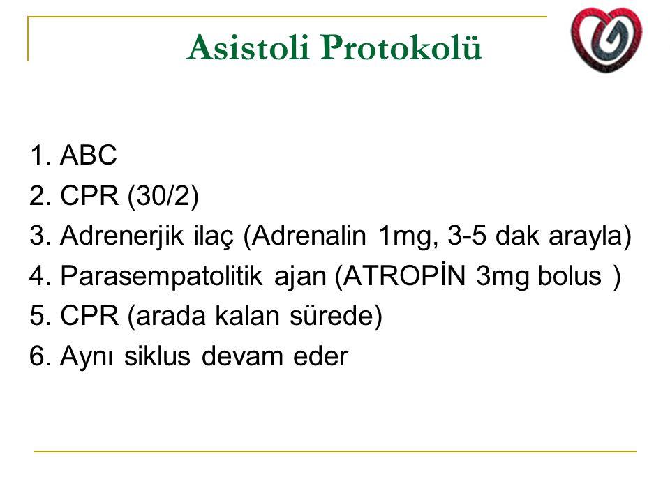 Asistoli Protokolü 1. ABC 2. CPR (30/2)
