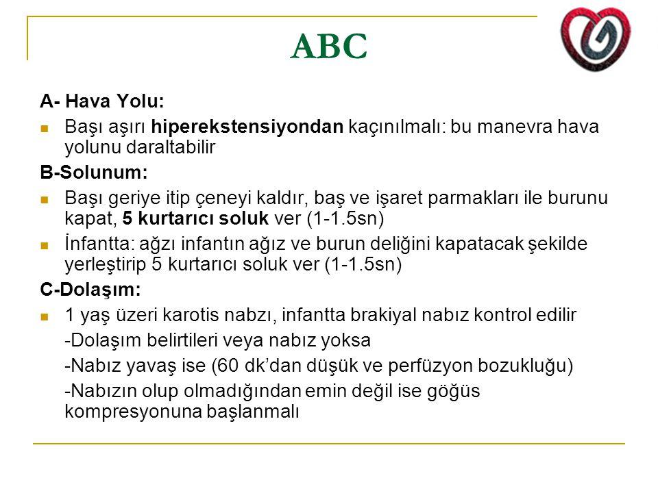 ABC A- Hava Yolu: Başı aşırı hiperekstensiyondan kaçınılmalı: bu manevra hava yolunu daraltabilir.