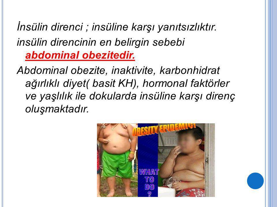 İnsülin direnci ; insüline karşı yanıtsızlıktır