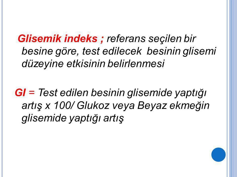 Glisemik indeks ; referans seçilen bir besine göre, test edilecek besinin glisemi düzeyine etkisinin belirlenmesi