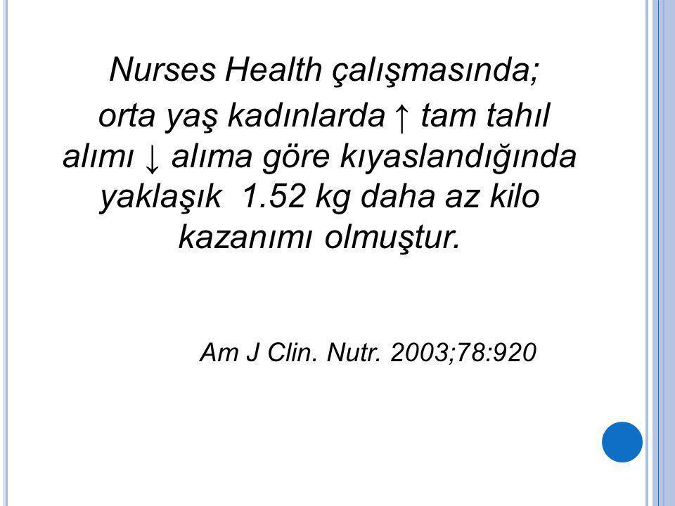 Nurses Health çalışmasında;