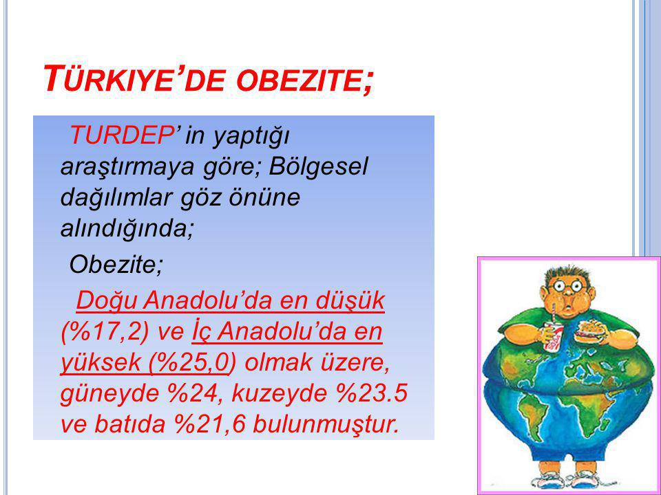 Türkiye'de obezite; TURDEP' in yaptığı araştırmaya göre; Bölgesel dağılımlar göz önüne alındığında;