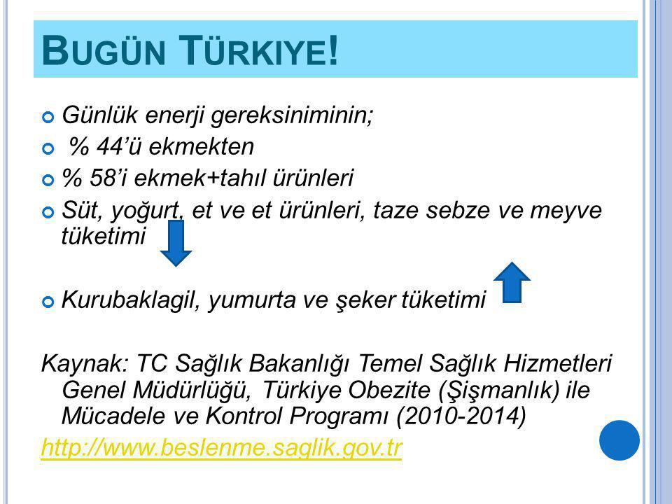 Bugün Türkiye! Günlük enerji gereksiniminin; % 44'ü ekmekten
