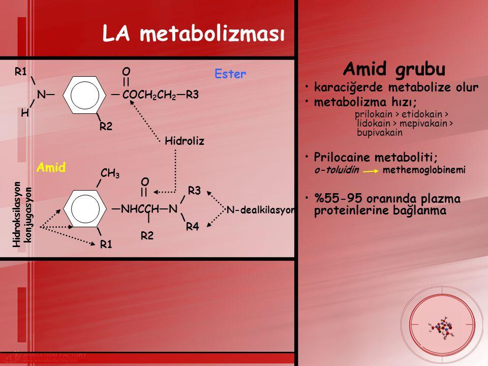 LA metabolizması Amid grubu Ester karaciğerde metabolize olur