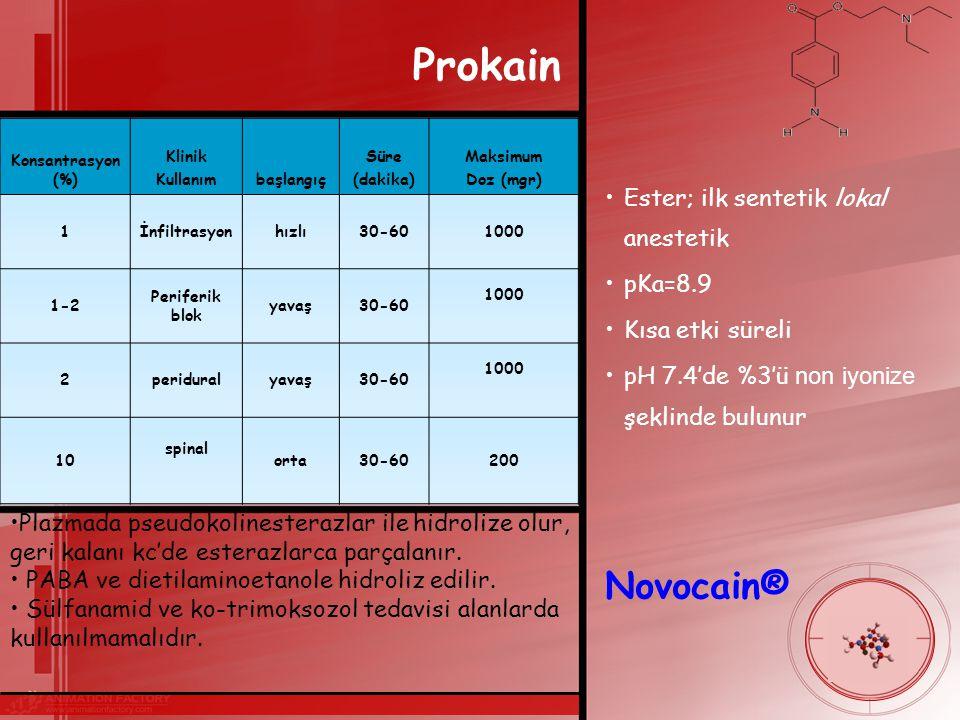 Prokain Novocain® Ester; ilk sentetik lokal anestetik pKa=8.9