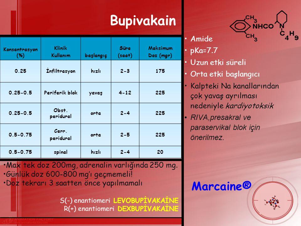 Bupivakain Marcaine® Amide pKa=7.7 Uzun etki süreli