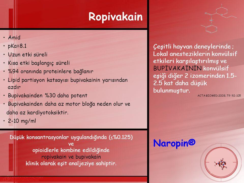 Ropivakain Amid. pKa=8.1. Uzun etki süreli. Kısa etki başlangıç süreli. %94 oranında proteinlere bağlanır.